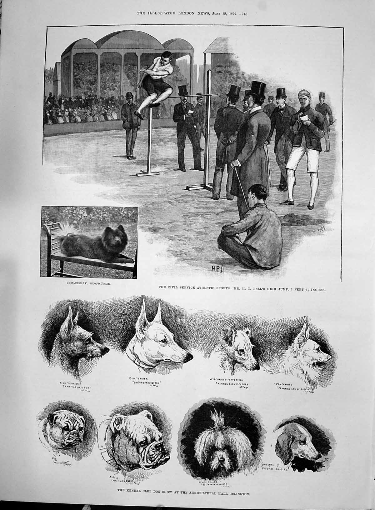 [Print 1892 Civil Service Sport Bell High Jump Kennel Dog Show Islington 748P200 Old Original]