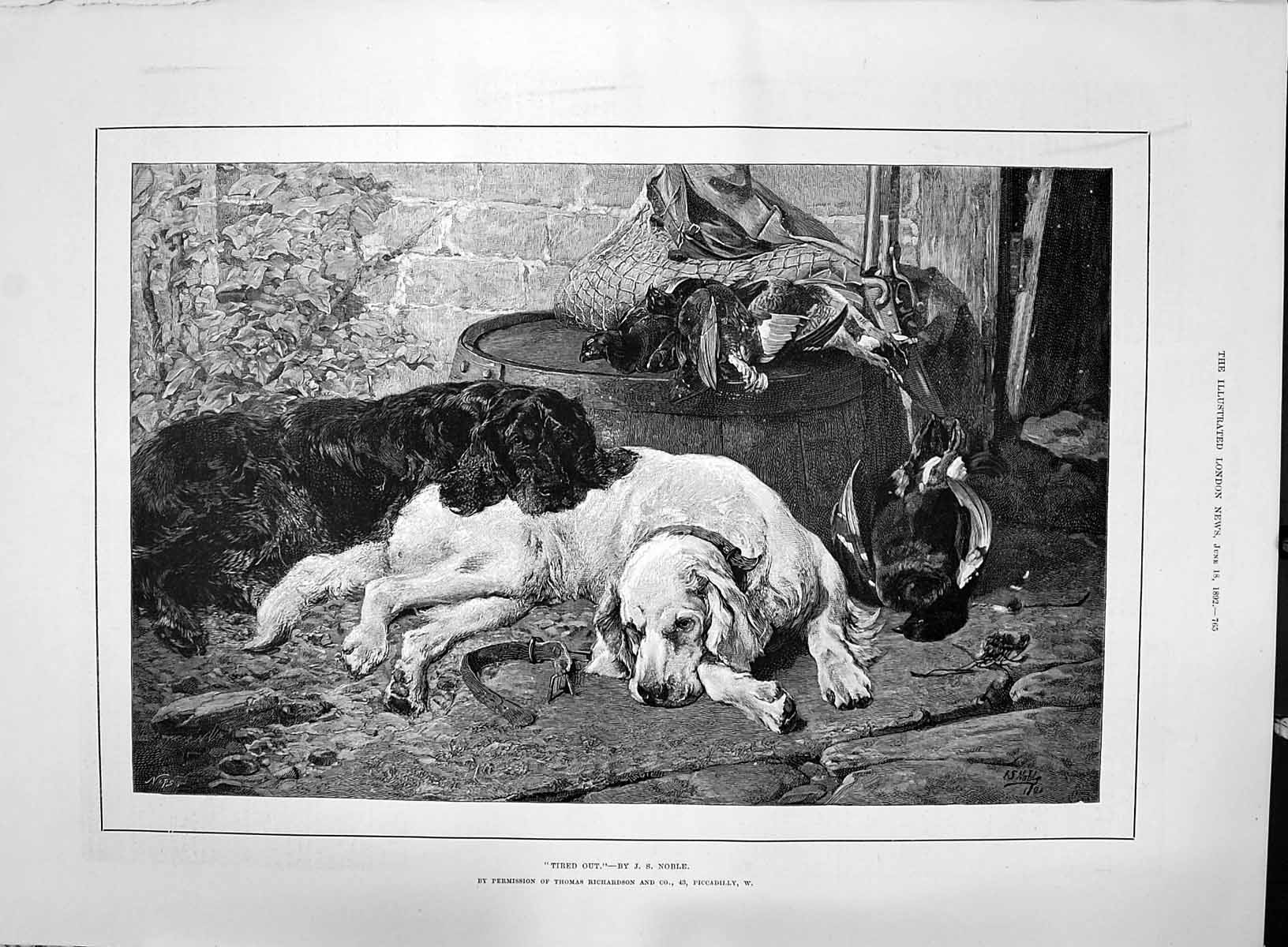 [Print 1892 Tired Out Sleeping Hunting Dogs Game Birds Thomas Richardson 765P200 Old Original]