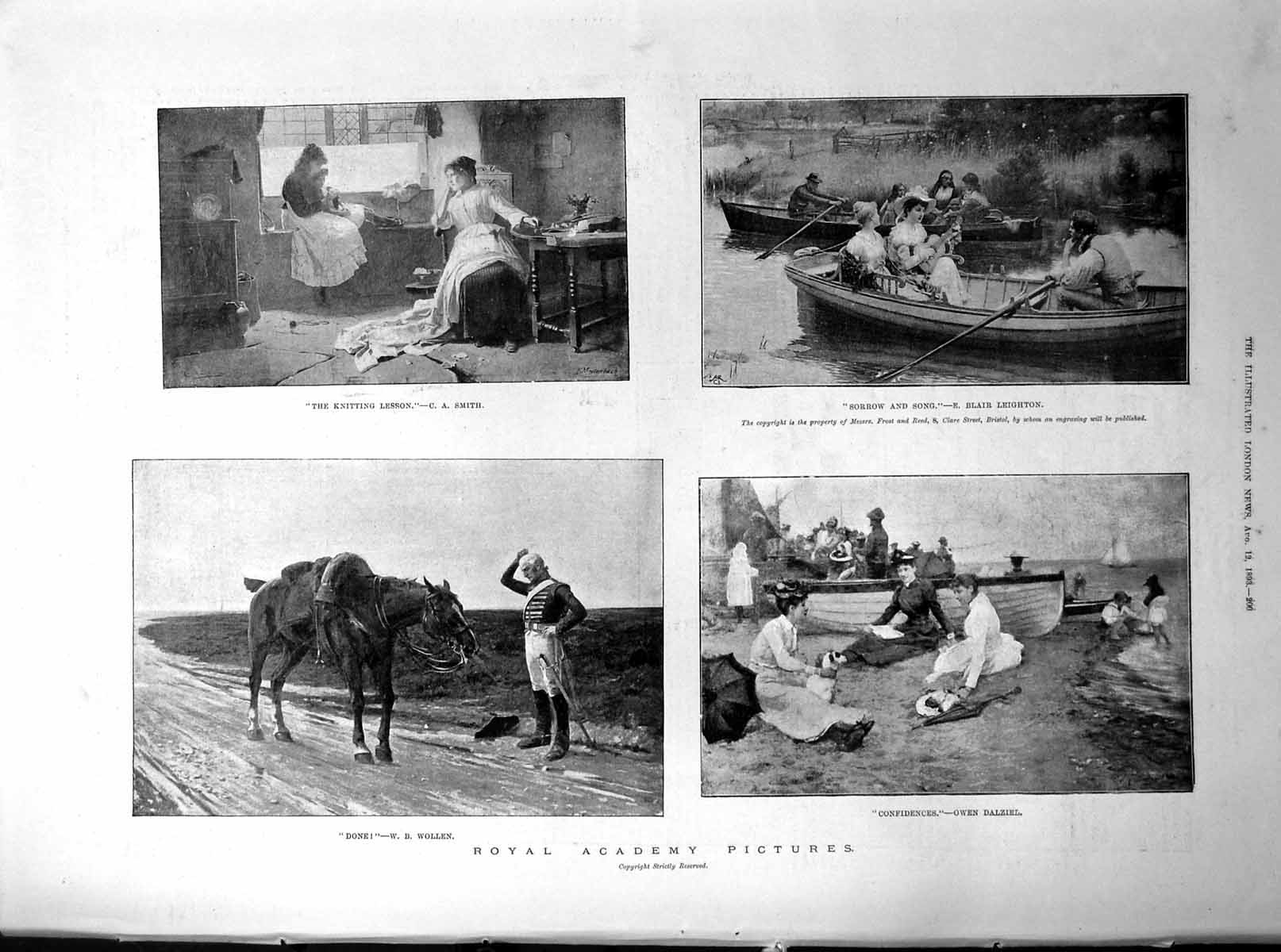 Print Royal Academy Pictures Knitting Lesson Boating Horse Shore 1893 200p203 -  - ebay.co.uk