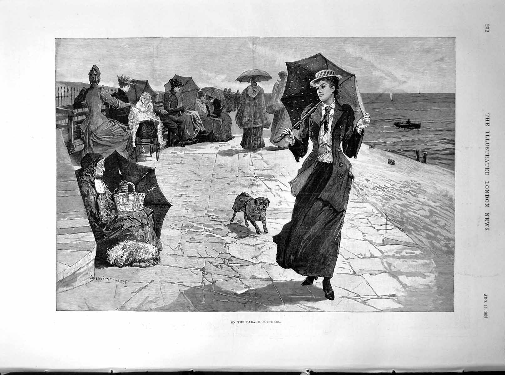 [Print On The Parade Southsea Lady Parasol Dog Walkers Beggar 1893 232P203 Old Original]