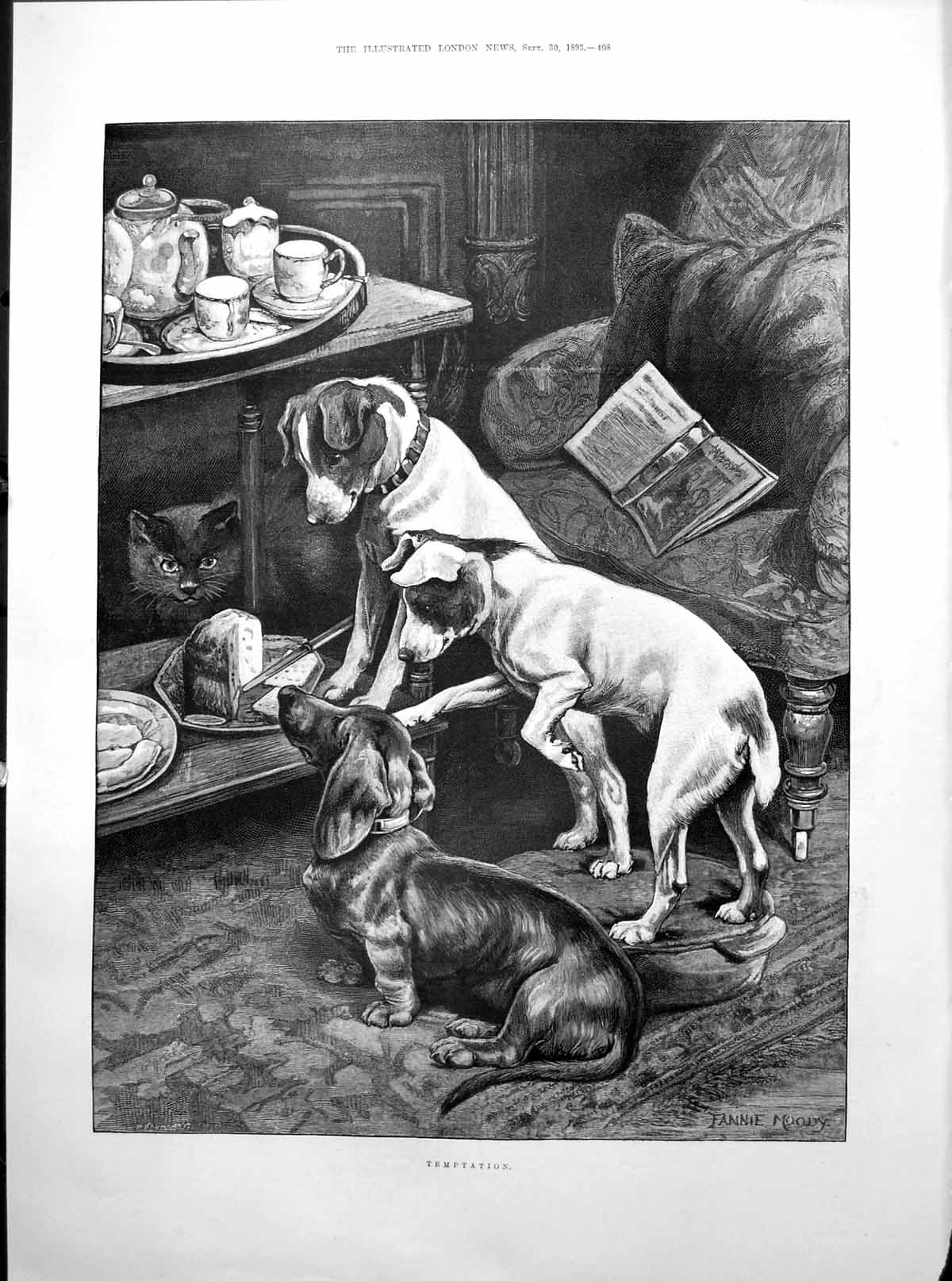 [Print Temptation Dogs Cat Cake Prince Arthur Duke Connaught Age 3 1893 408Rp203 Old Original]
