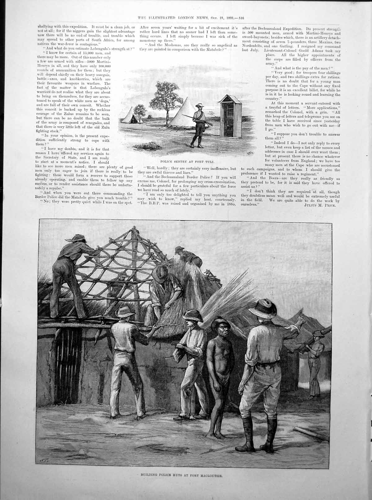 [Print Building Police Huts Fort Macloutsie South Africa Map 1893 516Rp203 Old Original]