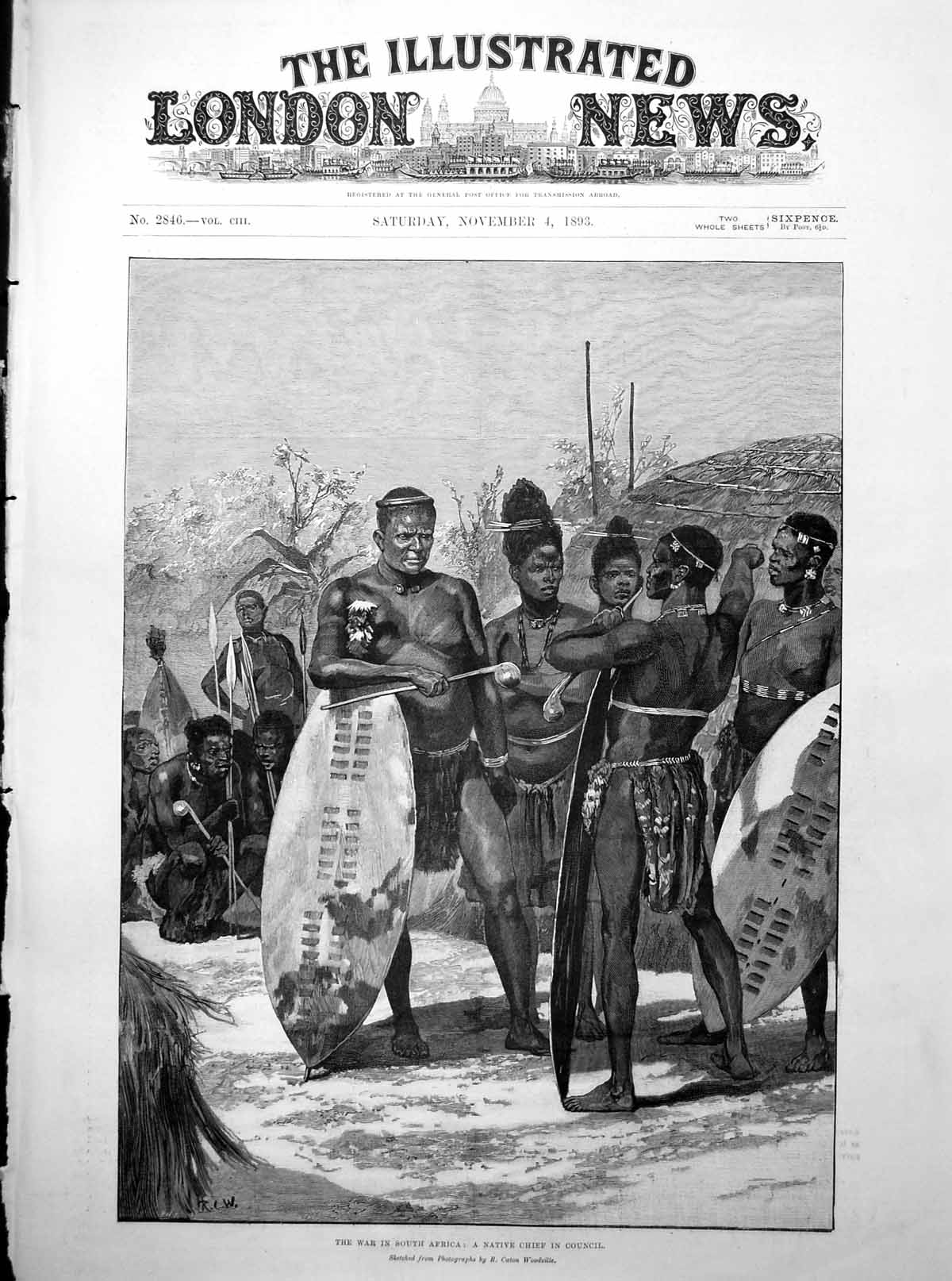 [Print The War In South Africa A Native Chief In Council Shields 1893 561P203 Old Original]