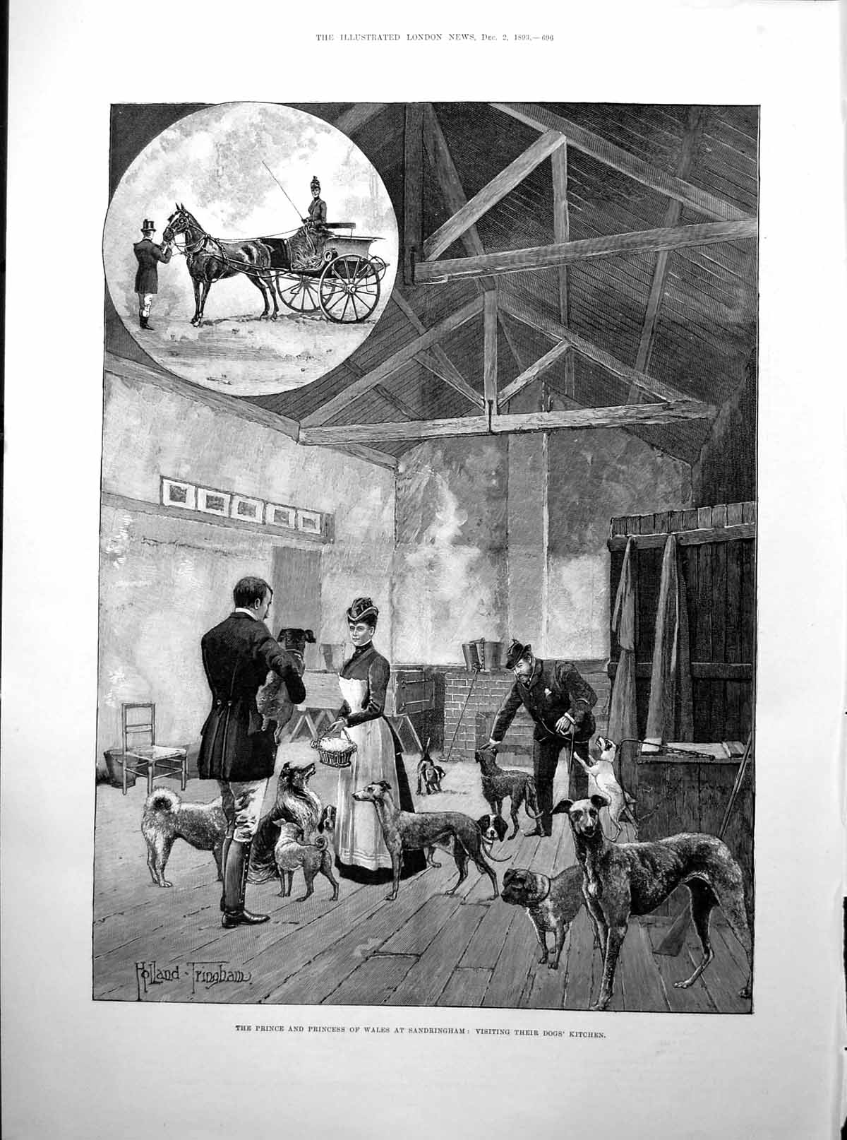 [Print Prince Wales Sandringham Dogs Kitchen Cenotaph Magee 1893 696Rp203 Old Original]