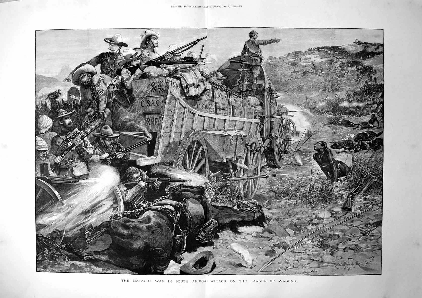 [Print Matabele War In South Africa Attack On Laager Wagons 1893 736Tp203 Old Original]