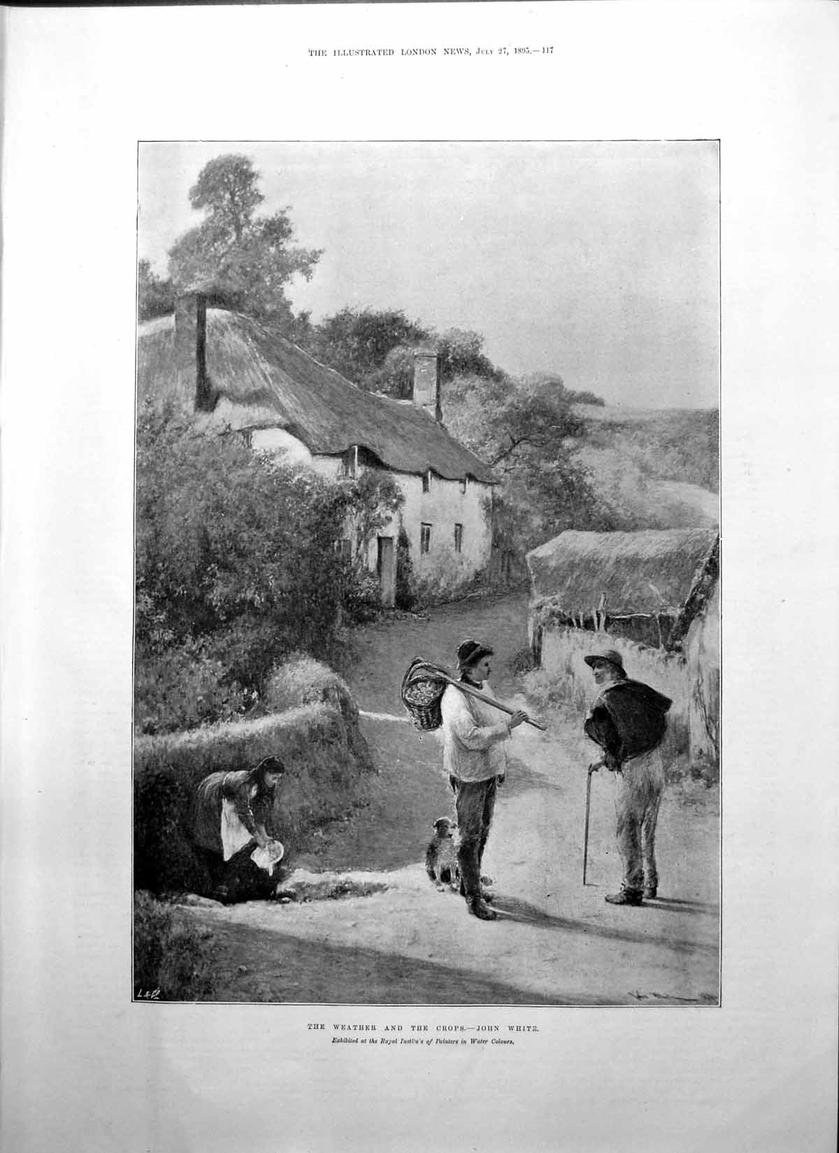 [Print Weather And Crops John White Thatched House Man Basket Dog 1895 117P207 Old Original]