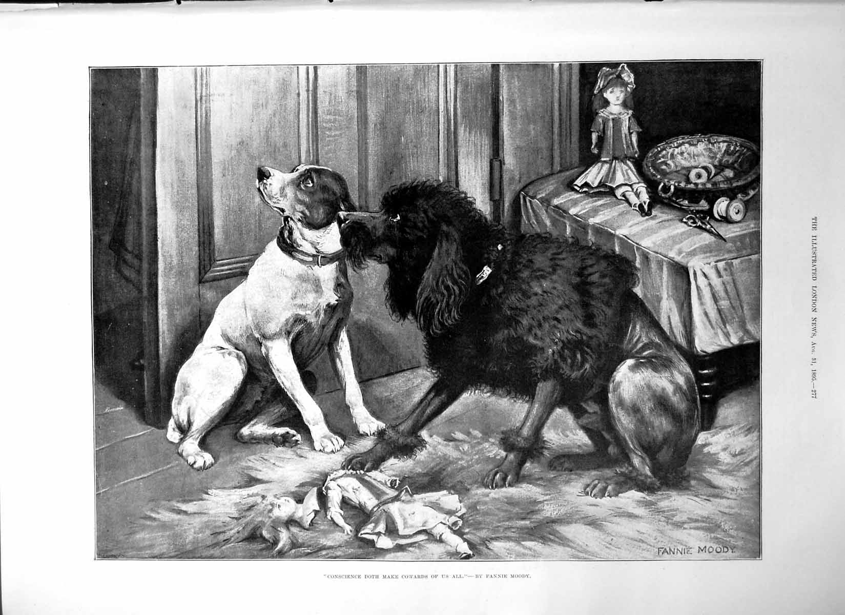 [Print Conscience Doth Make Cowards Us All Fannie Moody Dogs Doll1895 277P207 Old Original]
