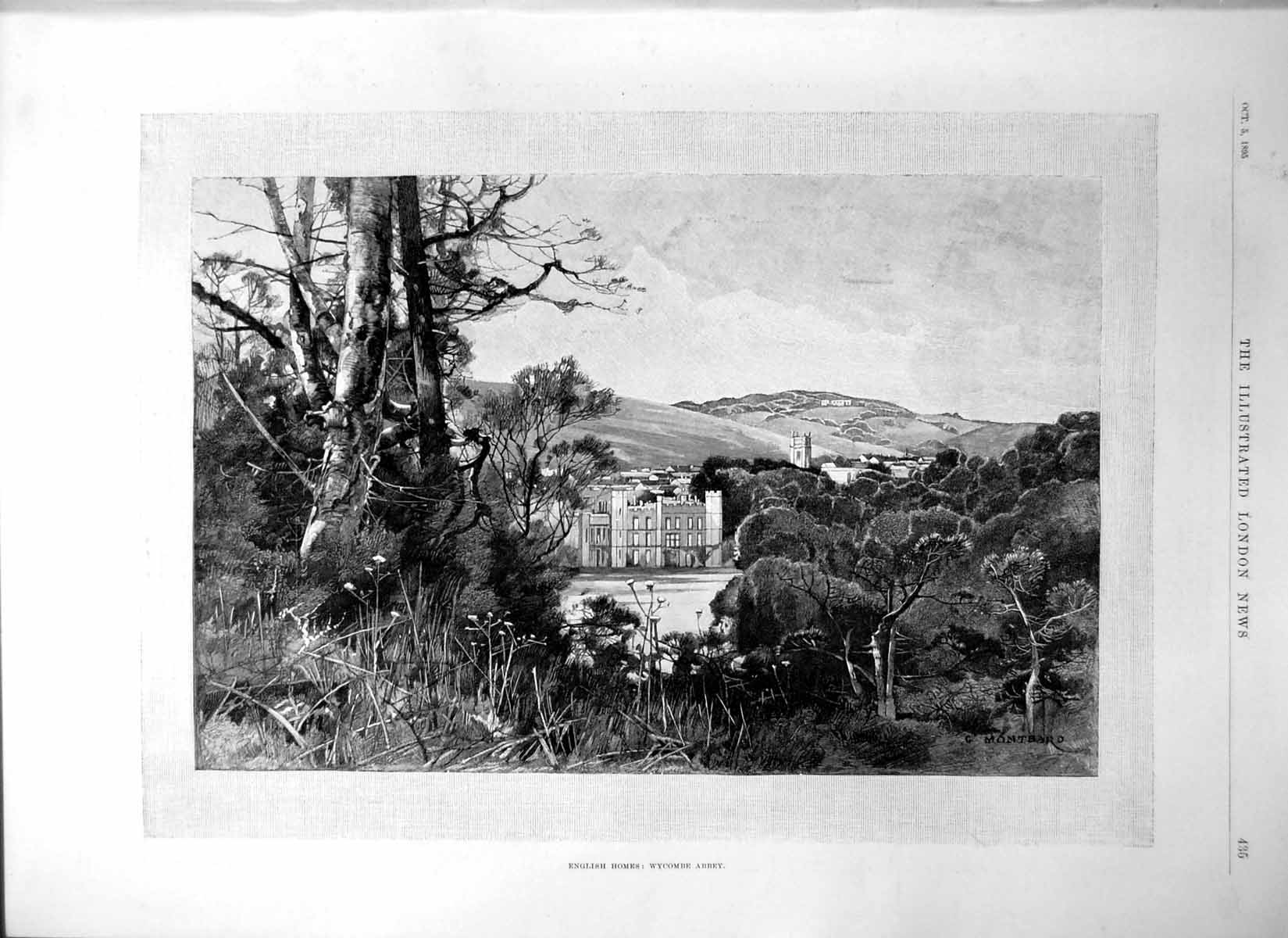 [Print English Homes Wycombe Abbey Exterior Poachers Dogs Hare Ferret1895 435P207 Old Original]