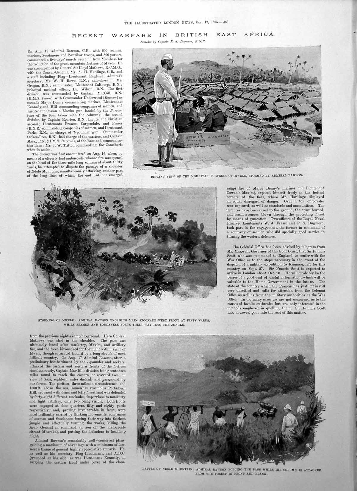[Print Warfare British East Africa Fortress Mwele Admiral Rawson 1895 460P207 Old Original]