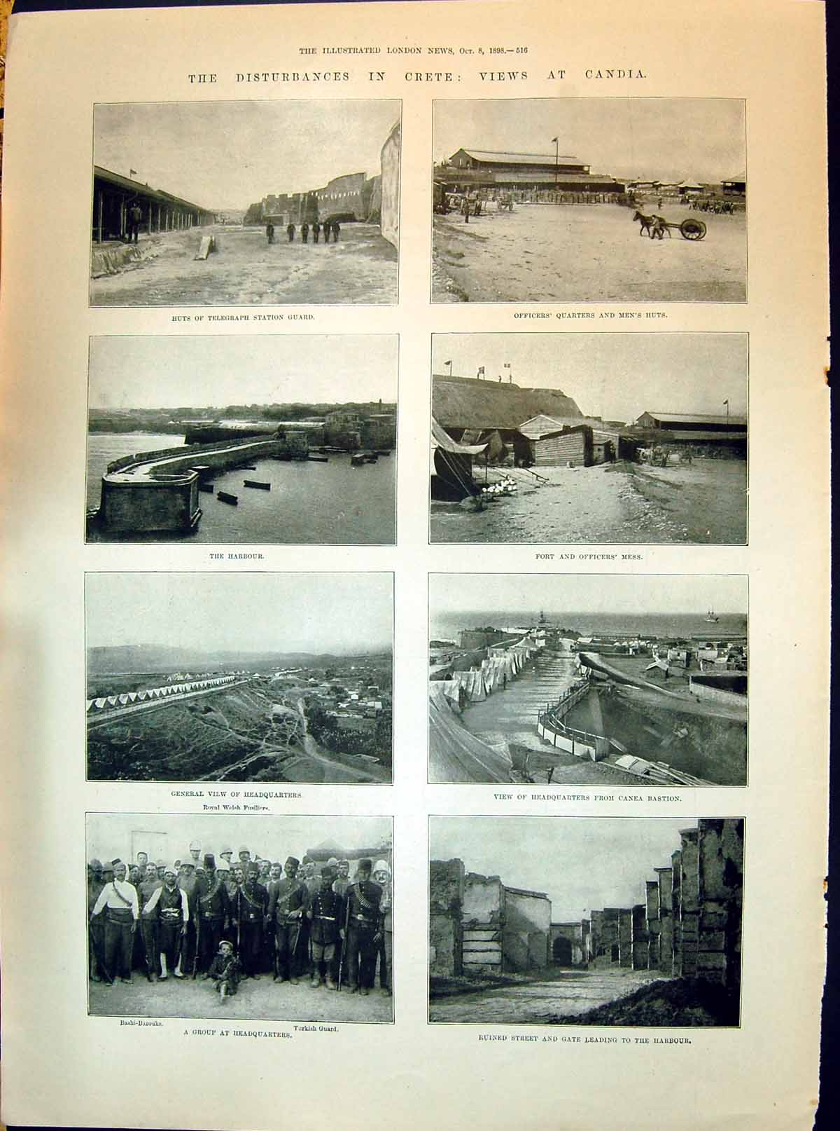[Print 1898 Crete Candia Huts Telegraph Fort Officers Mess Grey Hospital 516P213 Old Original]