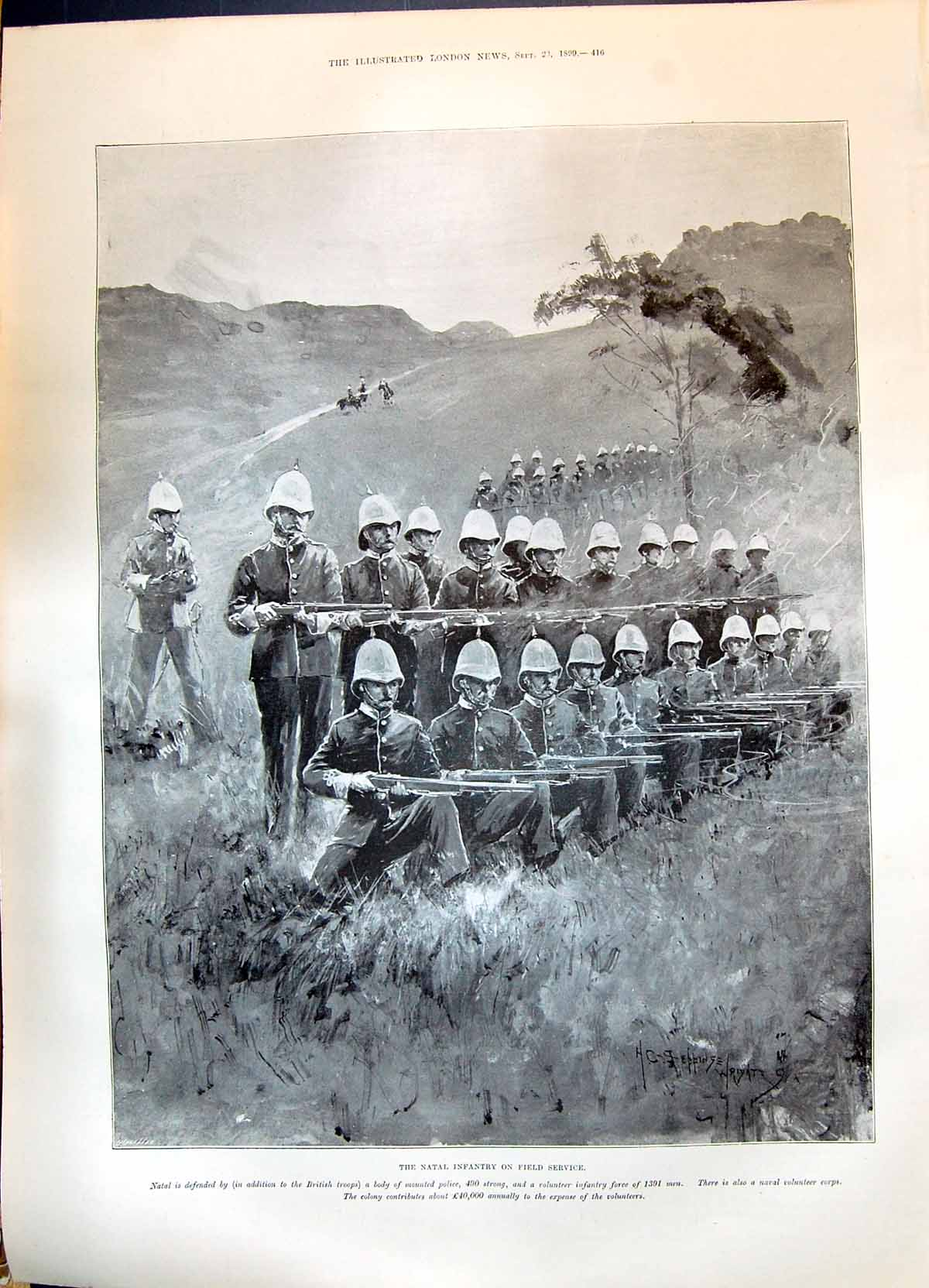 [Print 1899 War Natal Infantry Soldiers Field Service Seppings Wright 416P215 Old Original]