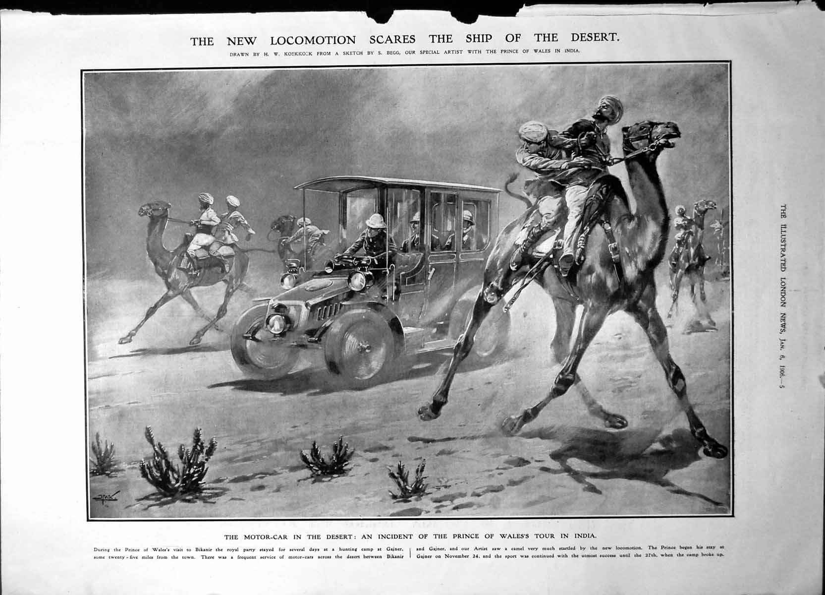[Print Motor Car Desert Prince Wales Diamond Mine South Africa 1906 5P228 Old Original]