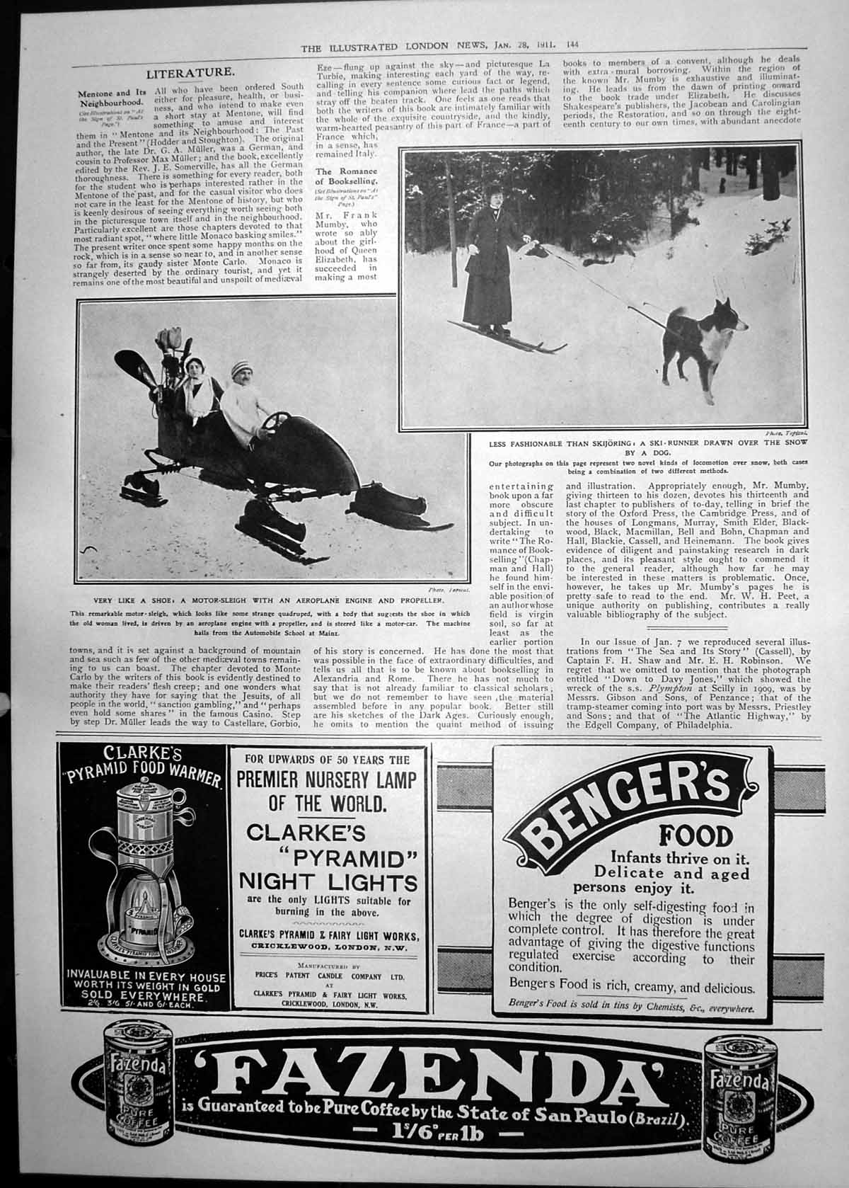 [Print Motor Sleigh Aeroplane Engine Propellor Dog Pulled Sled 1911 144P2380911 Old Original]