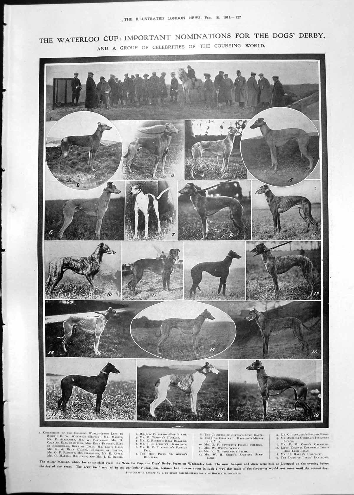 [Print Waterloo Cup Dogs Derby Chinese Coffins Surface Plague 1911 227Rp2380911 Old Original]