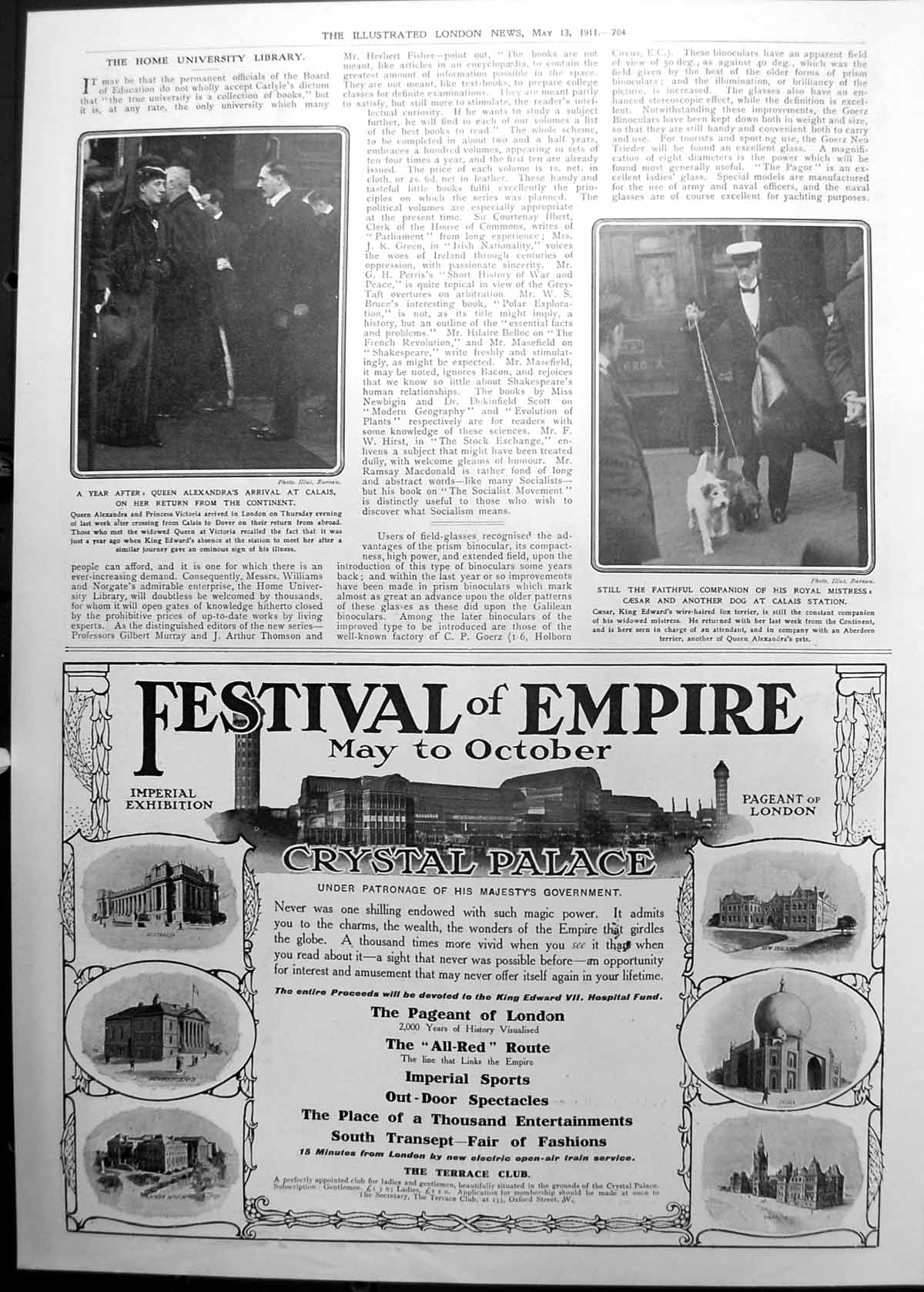 [Print Queen Alexandra'S Arrival Calais Dog Caesar Advert Festival 1911 704P2380911 Old Original]