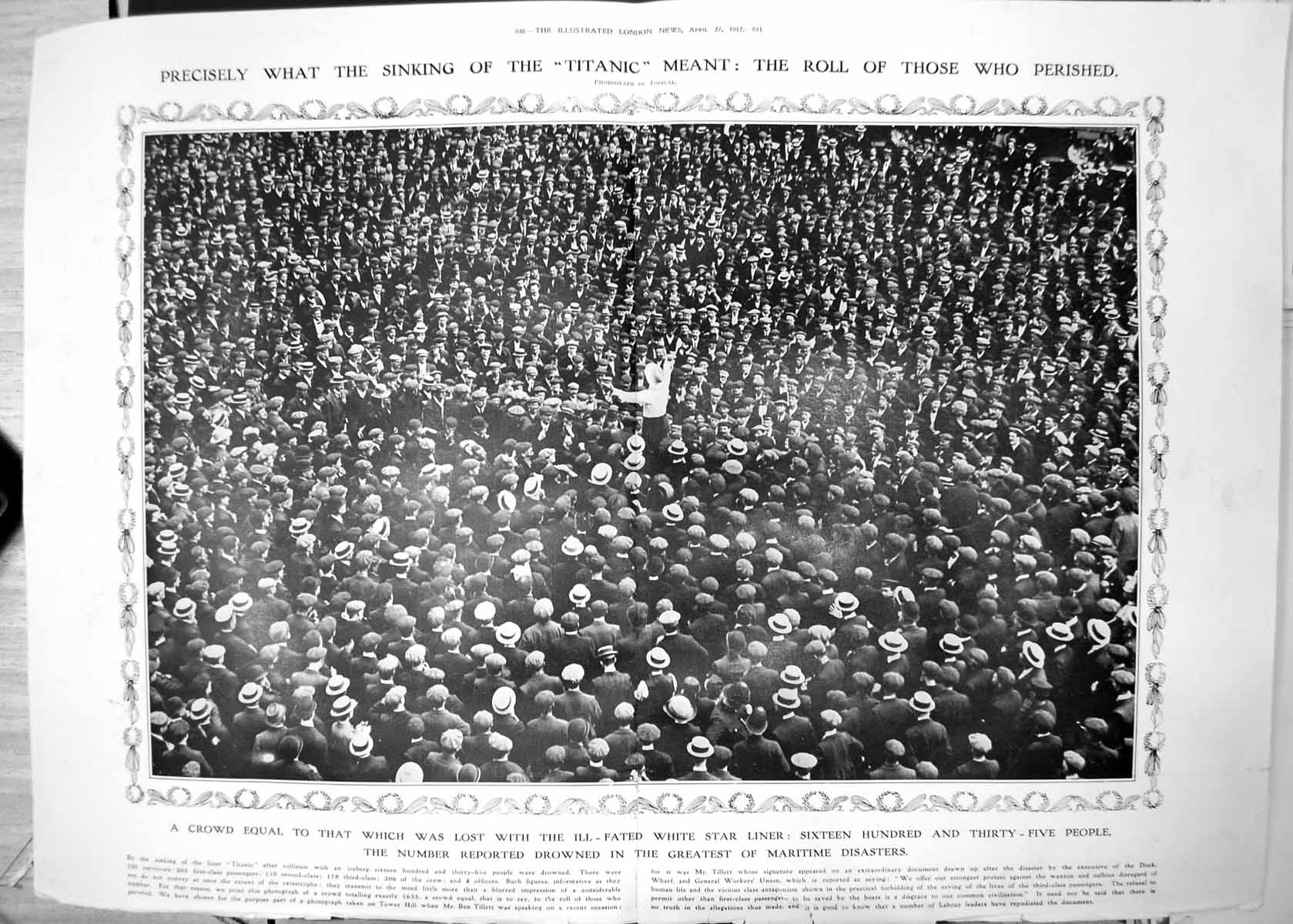 [Print Crowd Equal People Lost Lives Titanic Disaster 1,635 Drowned 1912 640Tp240 Old Original]