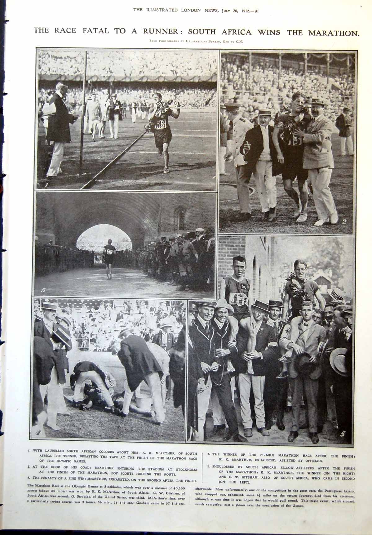 [Print S Africa Wins Marathon Olmpic Games Boston Artillery Co King 1912 091P241 Old Original]