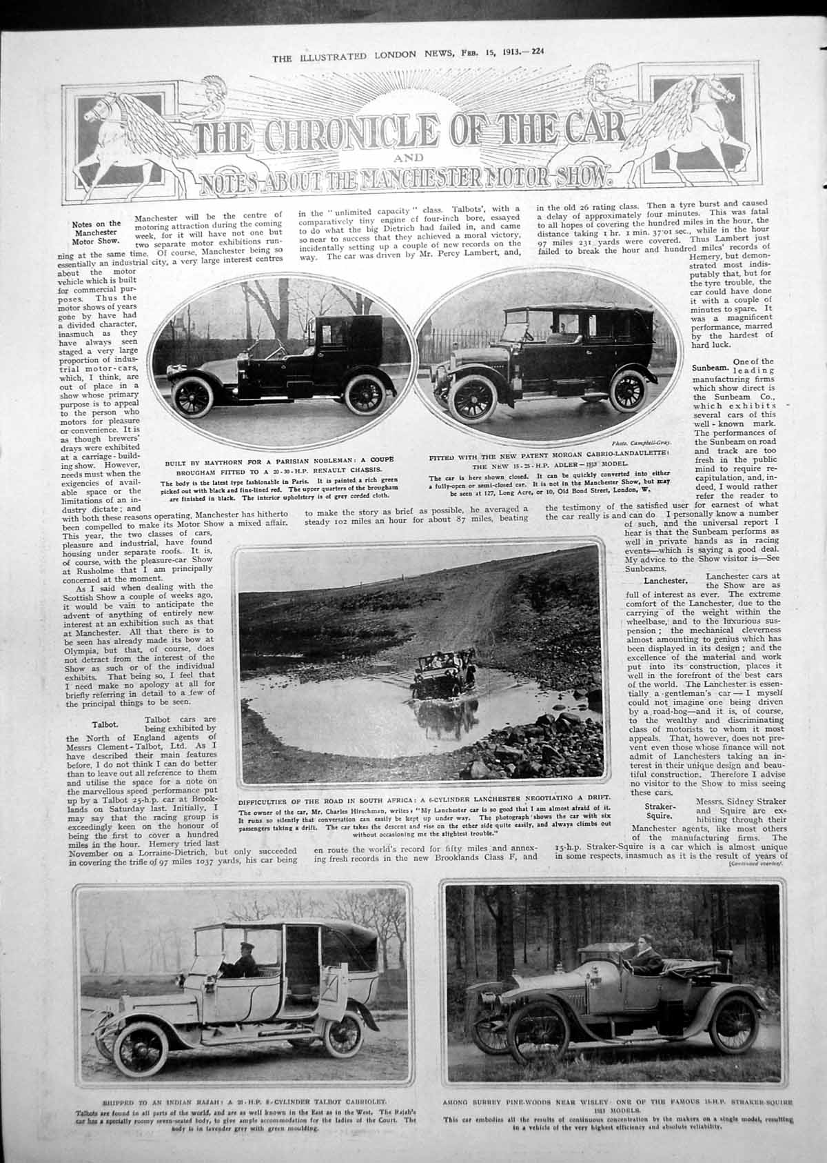 [Print Lanchester Driving South Africa Coupe Brougham Morgan 1913 224P242 Old Original]