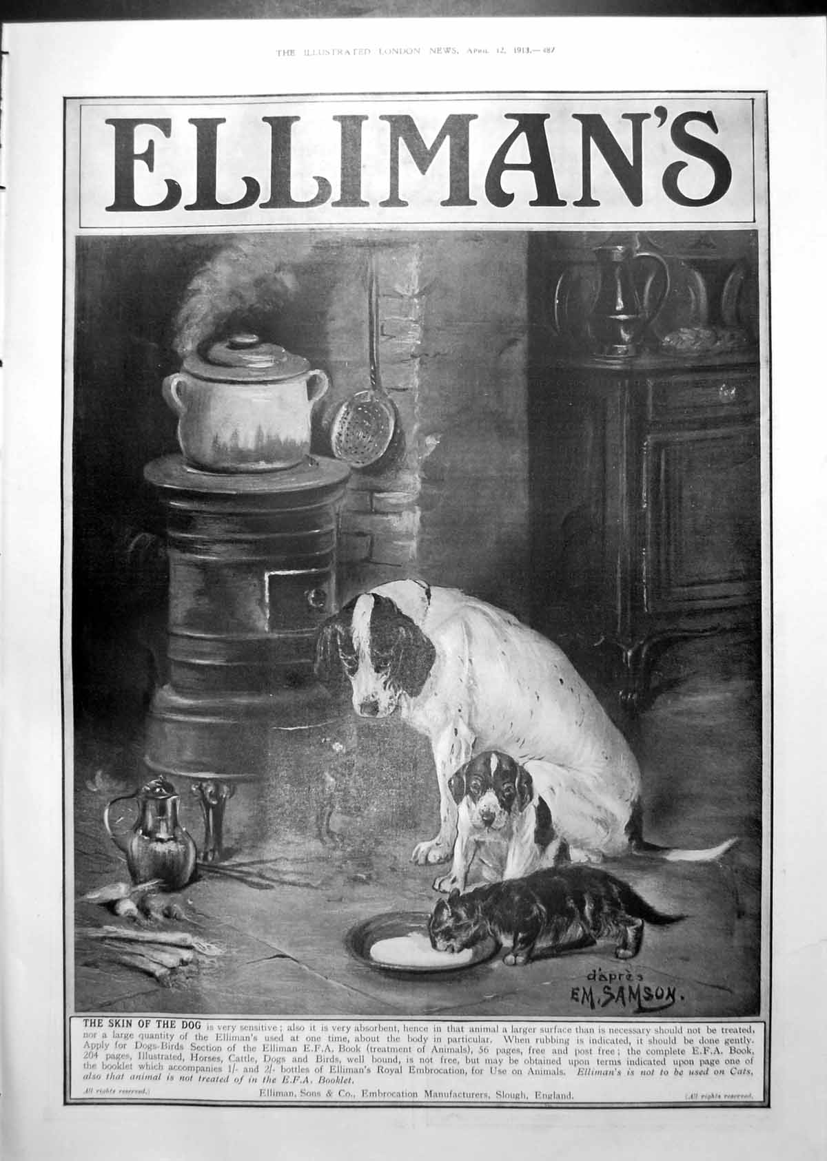[Print Elliman'S Advert Dogs Olympic Extra Hull Against Ice Sailing 1913 487Rp242 Old Original]