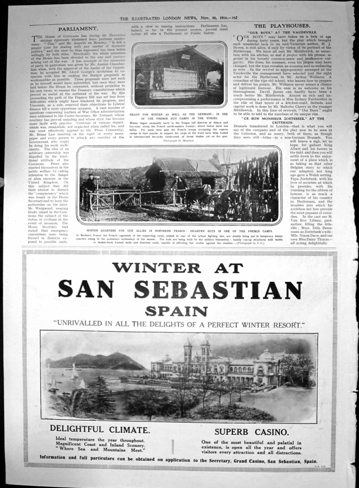 [Print Infantry Huts French Camps Winter San Sebastian Spain Advert 1914 752P244 Old Original]
