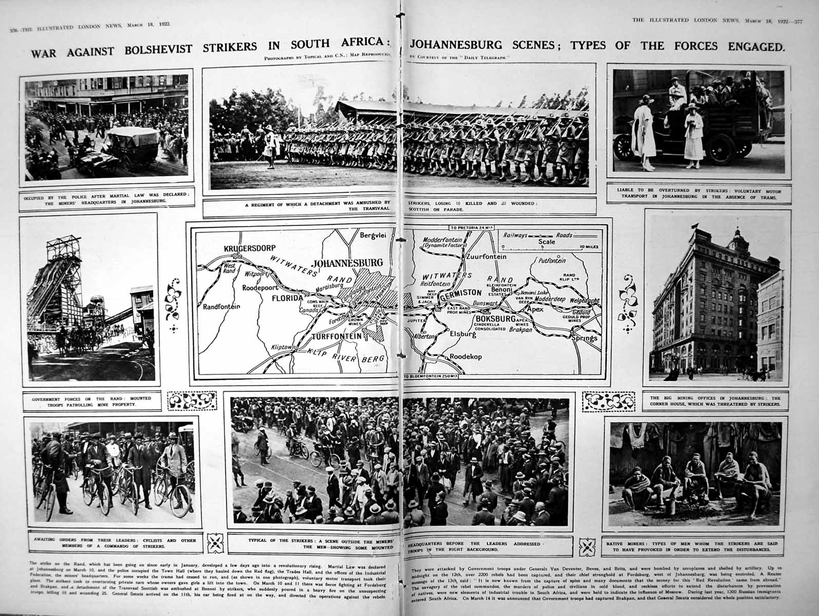 [Print Damaged Johannesburg Strikers South Africa Map Roces 1922 376P260 Old Original]