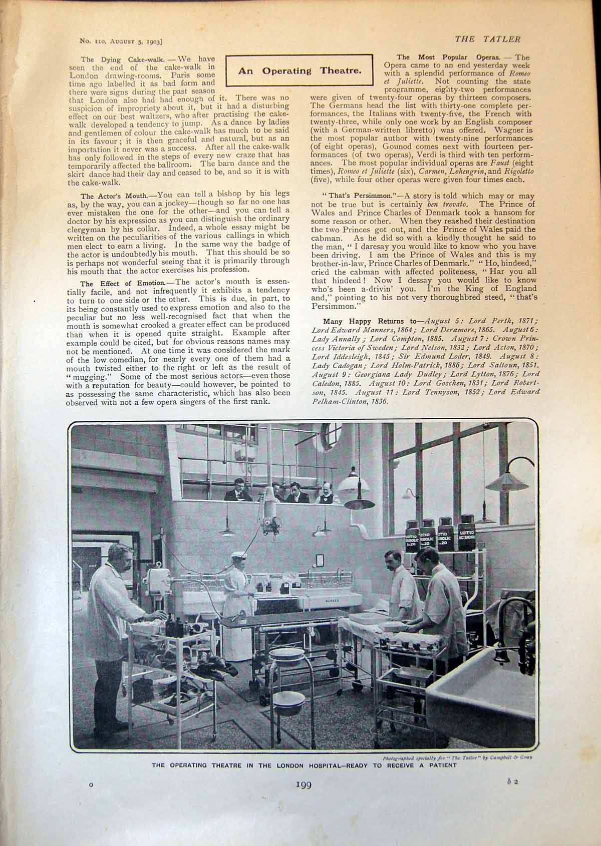 [Print Operating Theatre London Hospital George F Gordon Humorist 1903 199Q009 Old Original]