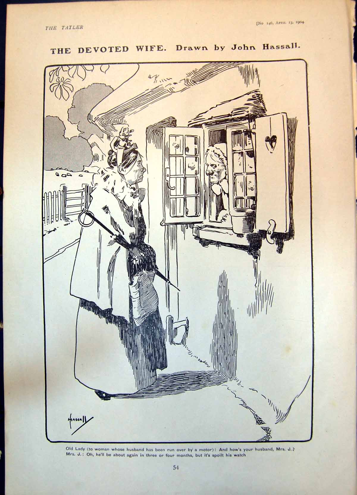 [Print Humour Devoted Wife Hassall Lady Dog Carrying Golf Clubs 1904 054Q012 Old Original]