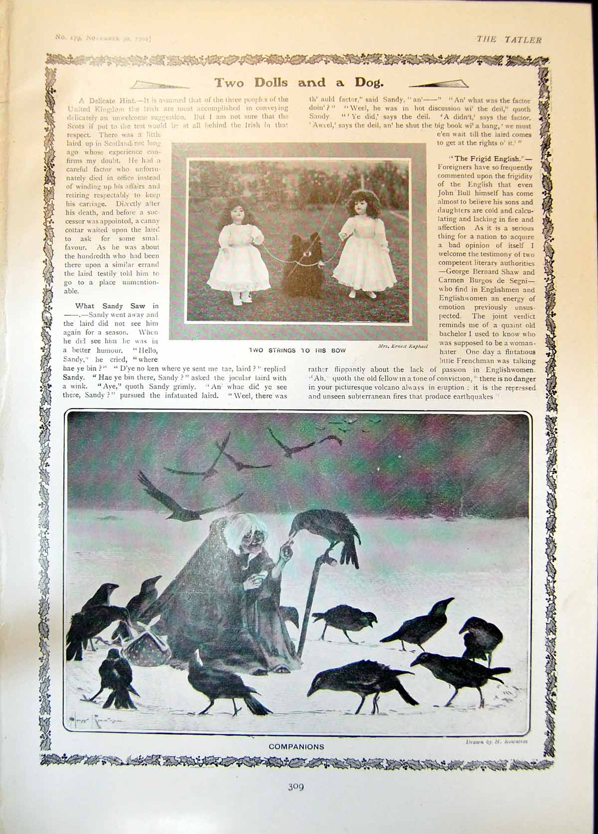 [Print Two Dolls Dog Companions H Rowntree Man Birds Letter Santa190 309Q014 Old Original]