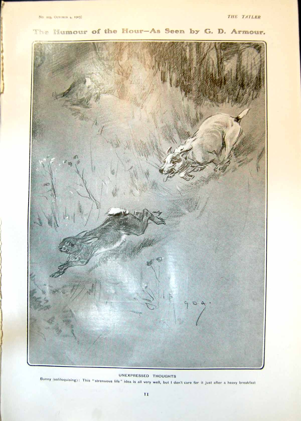 [Print Unexpressed Thoughts Bunny Chased Dog Pamela Congreve 1905 011Q018 Old Original]