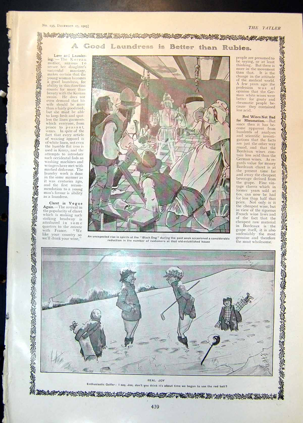[Print Comic Sketches Spirits Black Dog Real Joy Golf Snow Little Mary 1 439Q018 Old Original]