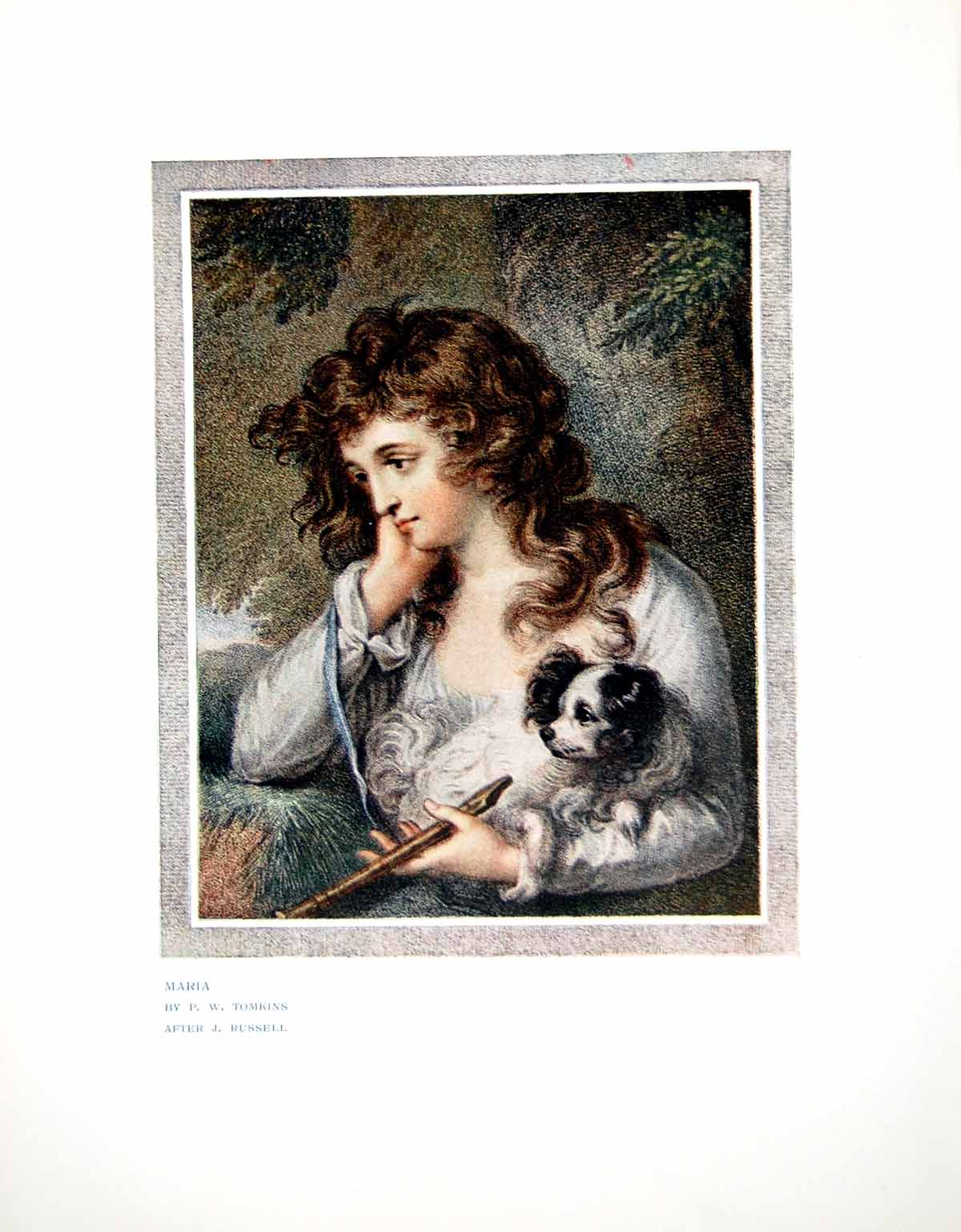 [Print Maria Lady With Dog Recorder Pw Tomkins After J Russell 1907 311Q119 Old Original]
