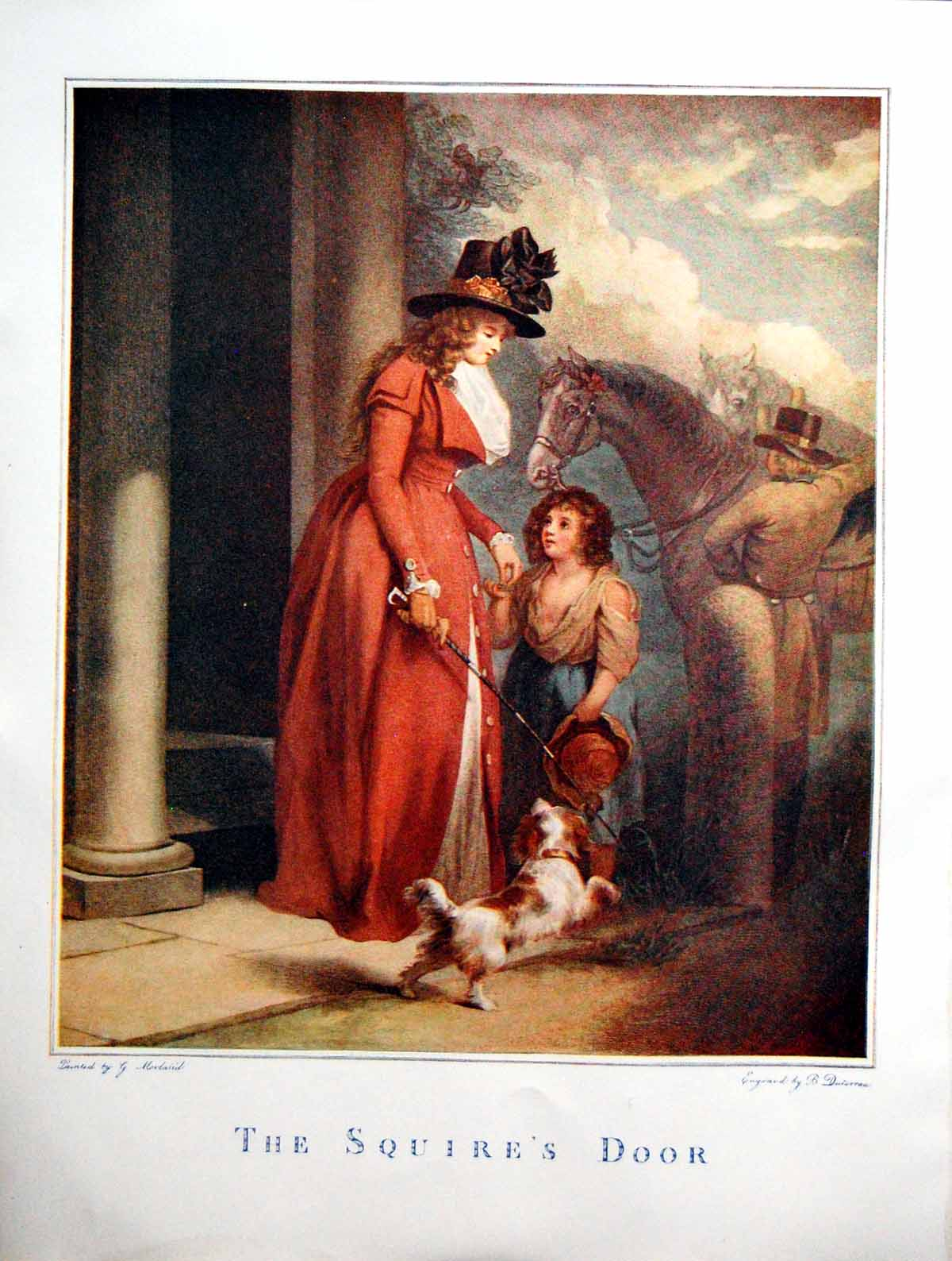 [Print The Squire'S Door Lady Hat Riding Crop Child Rags Dog Horse 1908 320Q121 Old Original]