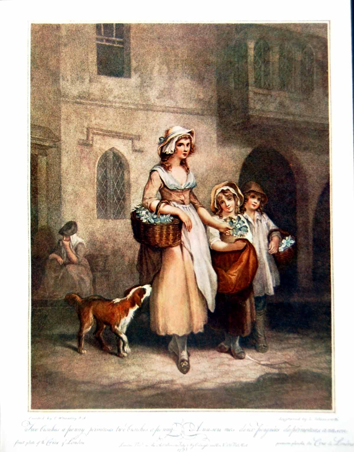 [Print Flower Seller Lady With Two Children And Dog Street Scene 1910 303Q127 Old Original]