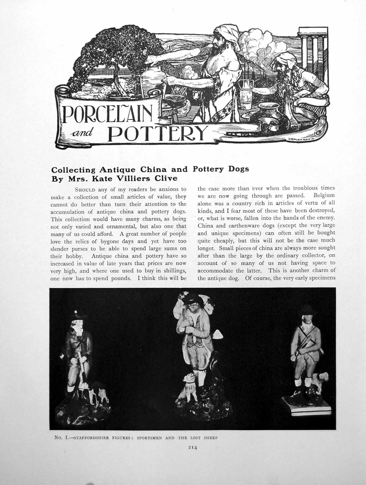 [Print Collecting China And Pottery Dogs 3 Pages 1915 214Q142 Old Original]