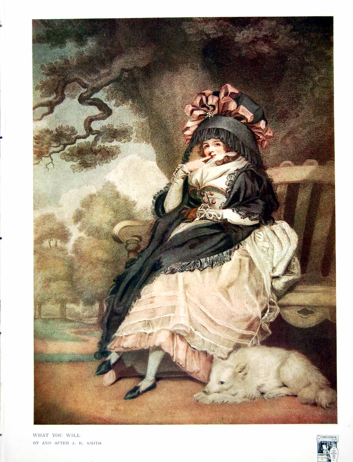 [Print What You Will Lady Seated With Dog By And After Jr Smith 1915 322Q142 Old Original]
