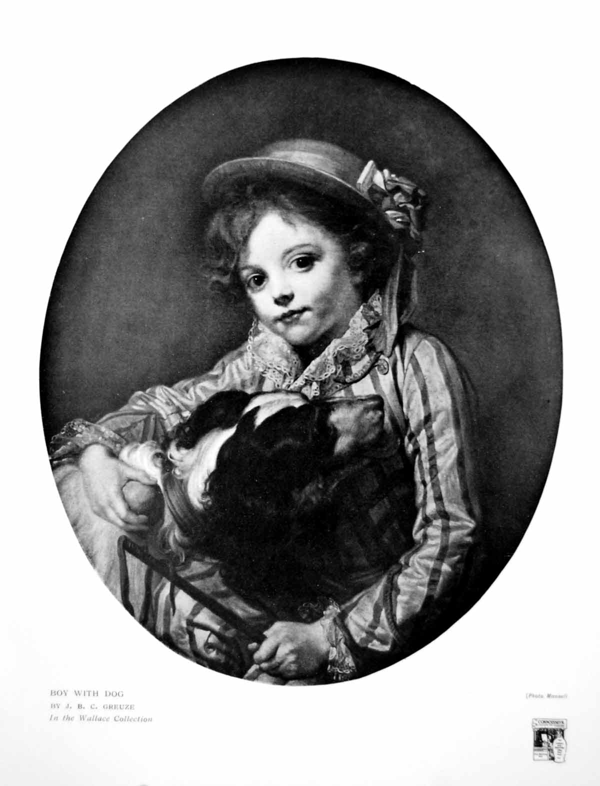 [Print Boy With Dog Jbc Greuze In Wallace Collection 1916 304Q144 Old Original]