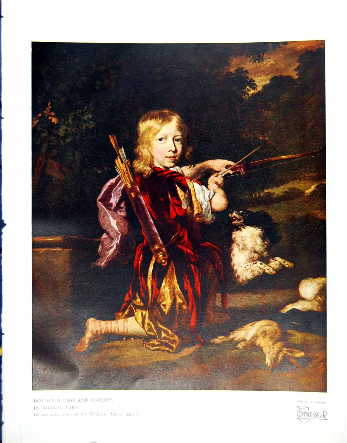 [Print Prints Boy With Bow And Arrows By Nicolas Maes Kneeling Dog 1928 311Q182 Old Original]