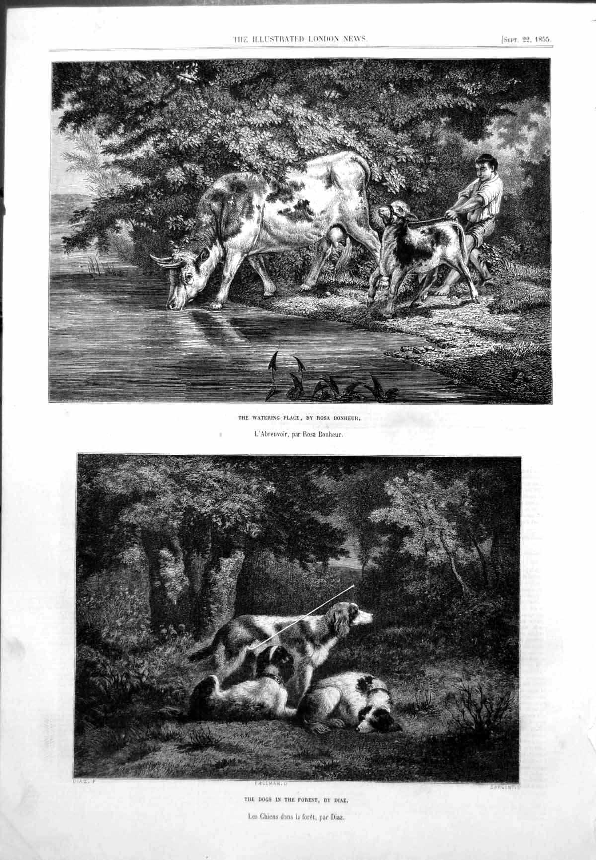 [Print Watering Place Rosa Bonheur Dogs In Forest Diaz 1855 499T102 Old Original]