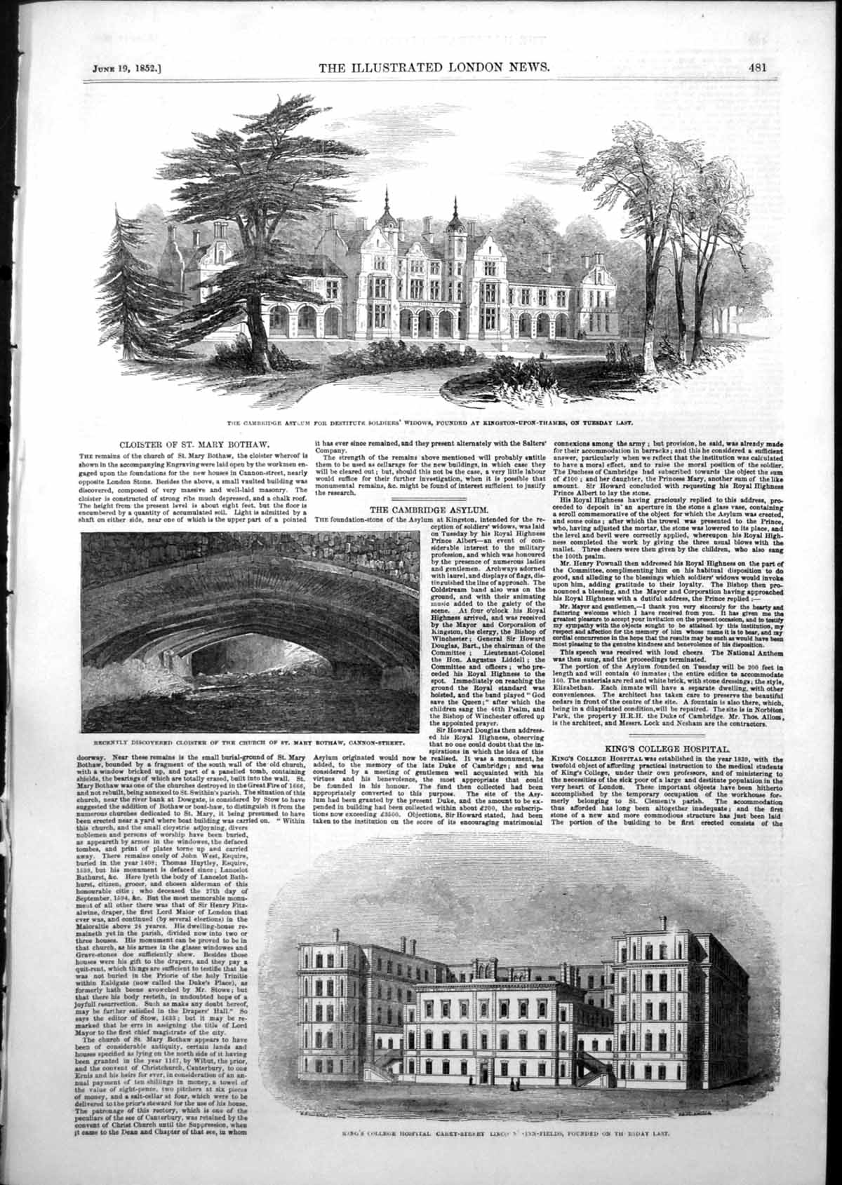 [Print Cambridge Asylum Soldiers Widows Kings College Hospital 1852 833T103 Old Original]