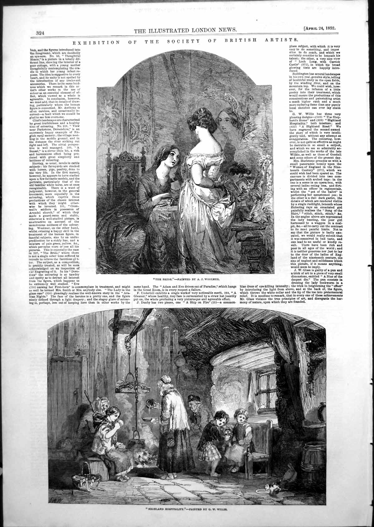 [Print Bride A Woolmer Highland Hospitality G Willis British Artists 185 891T103 Old Original]