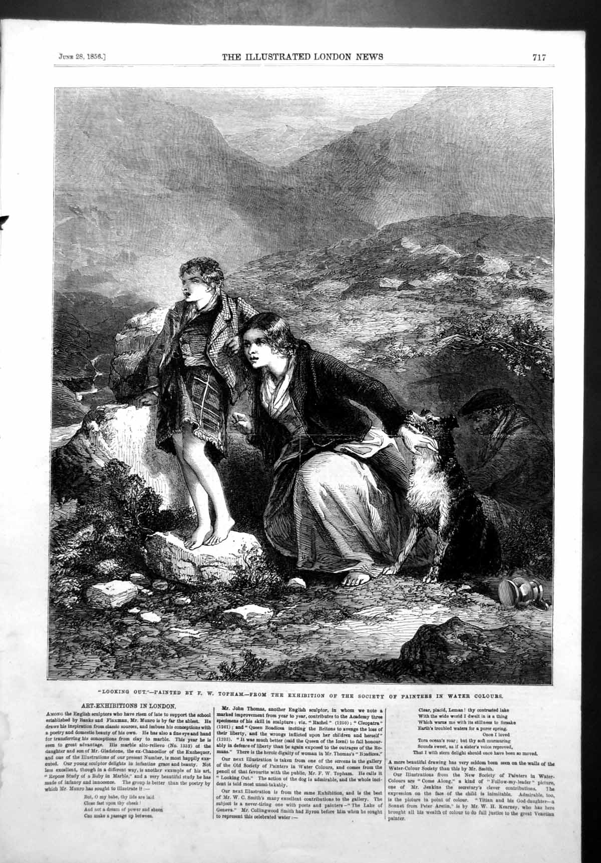[Print Looking Out Fw Topham Mother Child Dog Moors 1856 404T108 Old Original]