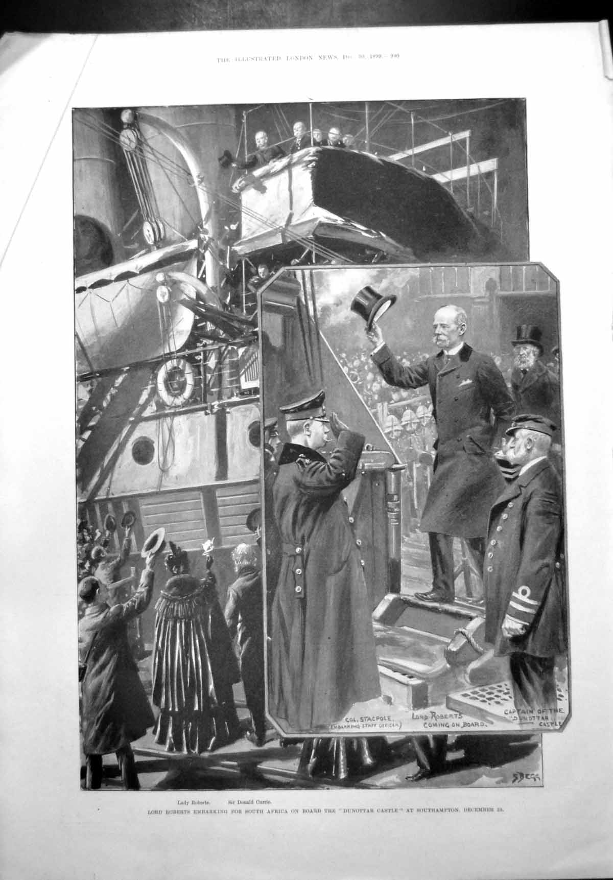 [Print Lord Roberts Embarking South Africa Dunottar Castle 1899 560T108 Old Original]