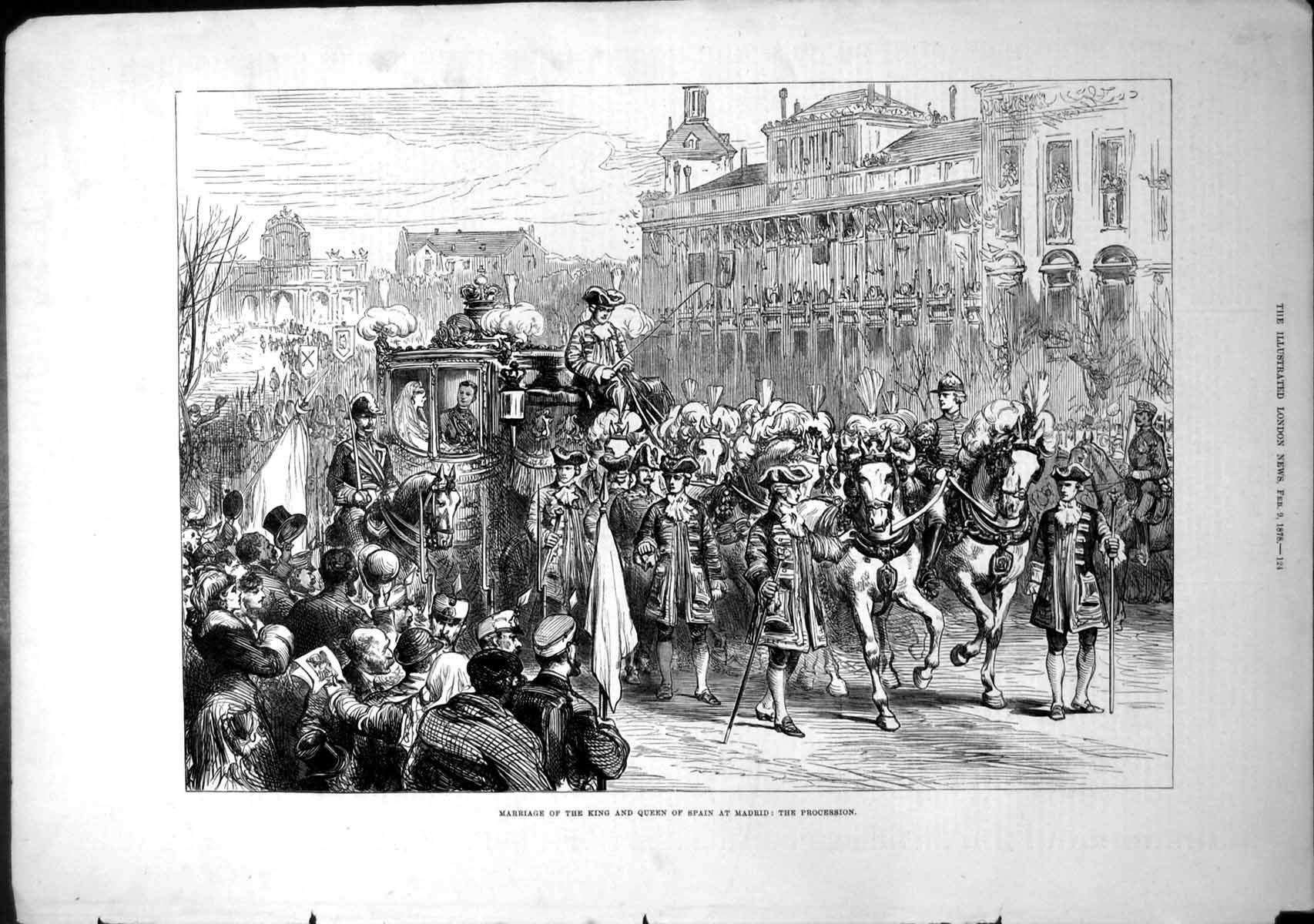 [Print Marriage King Queen Spain Madrid Procession 1878 753T109 Old Original]