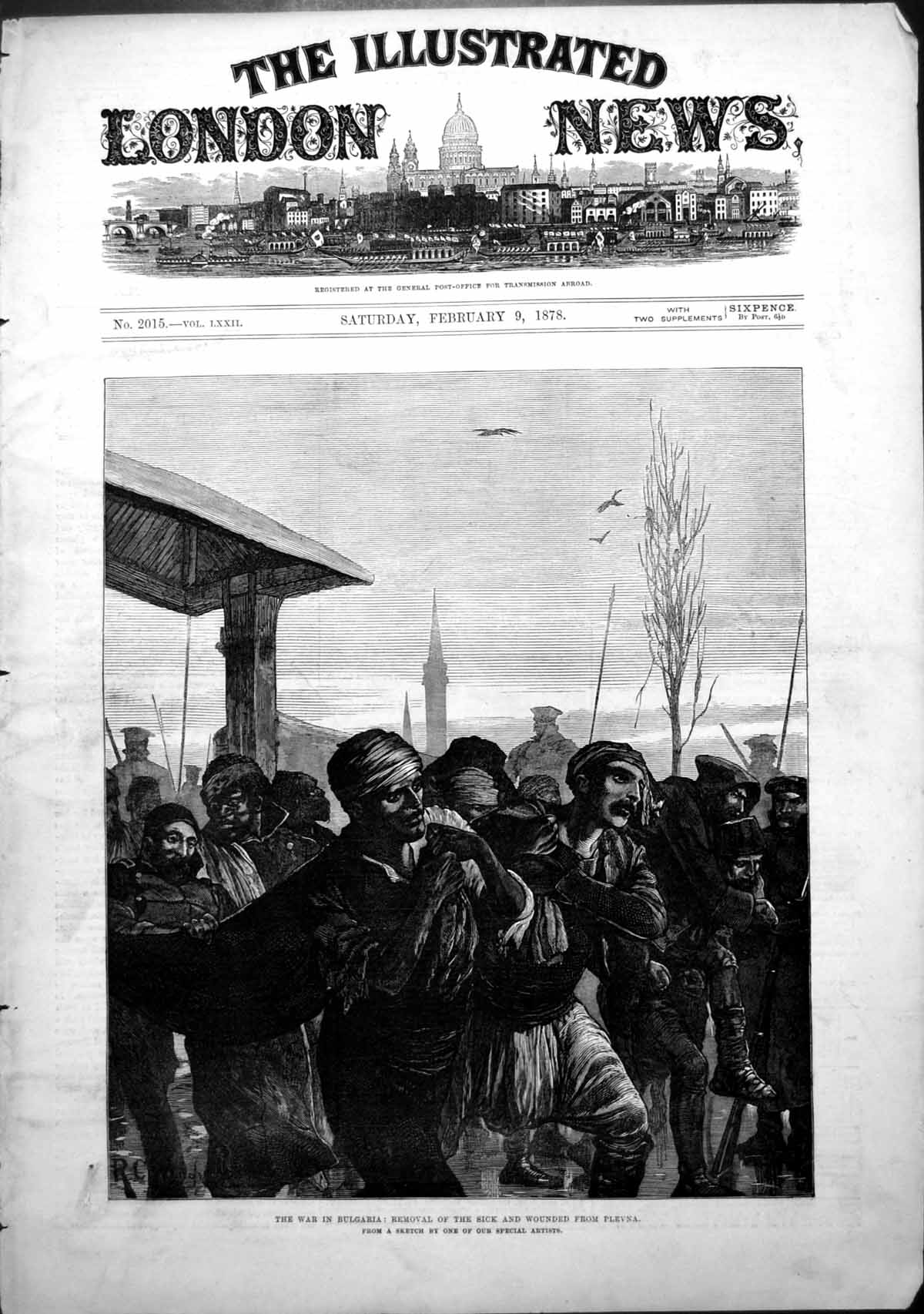 [Print War Bulgaria Removal Sick Wounded From Plevna 1878 755T109 Old Original]