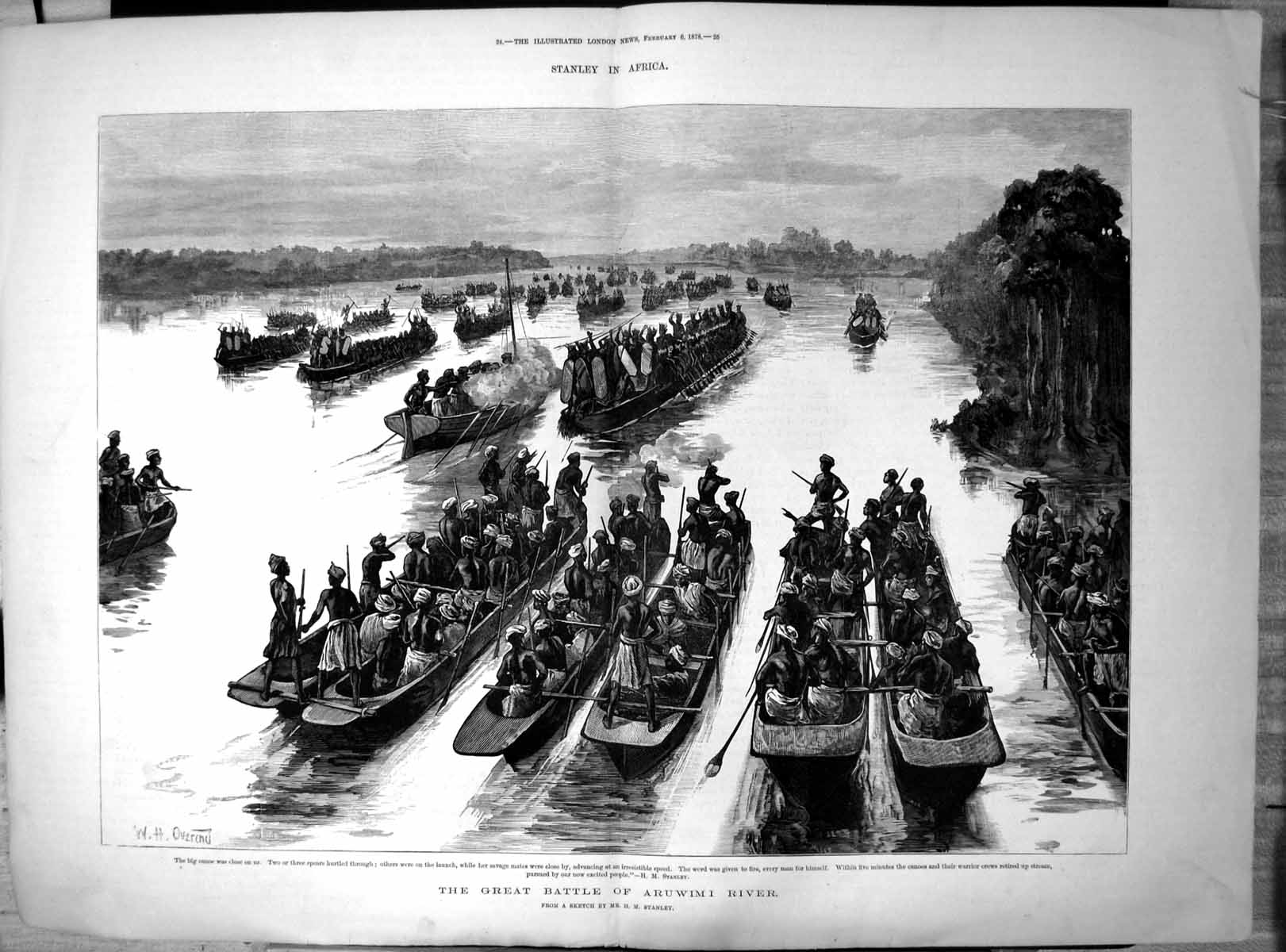 [Print Stanley Africa Great Battle Aruwimi River Canoes Warriors 1878 191T110 Old Original]