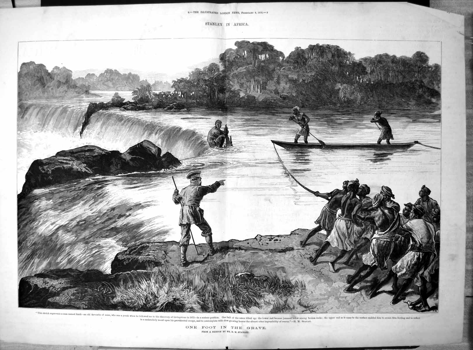 [Print Stanley Africa One Foot Grave Zaidi Escape Tilted Canoe 1878 192T110 Old Original]
