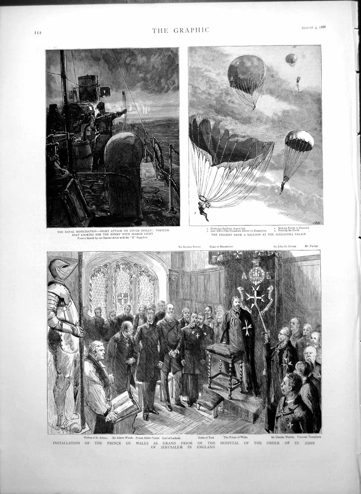[Print Prince Wales Prior Hospital St John Jerusalem Balloon 1888 193T111 Old Original]