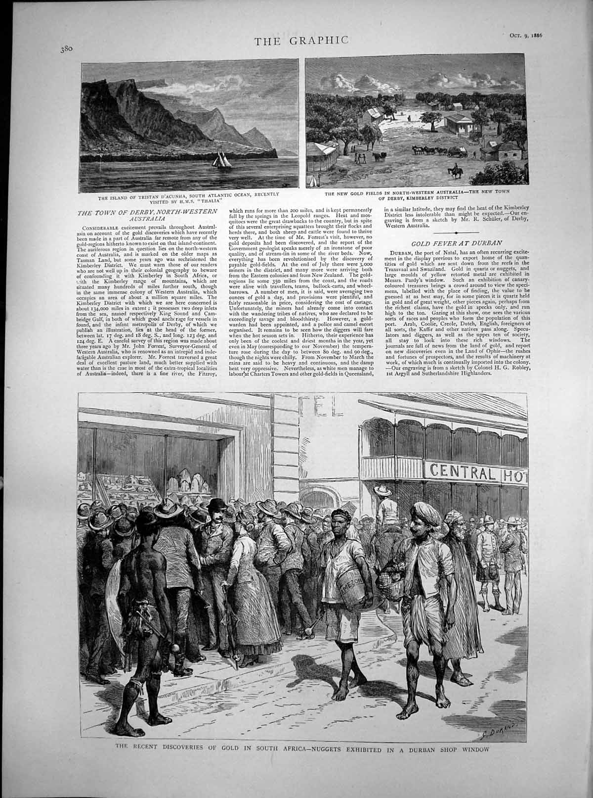 [Print Gfields Kimberley Discovery Gsouth Africa Durban 1886 450T112 Old Original]