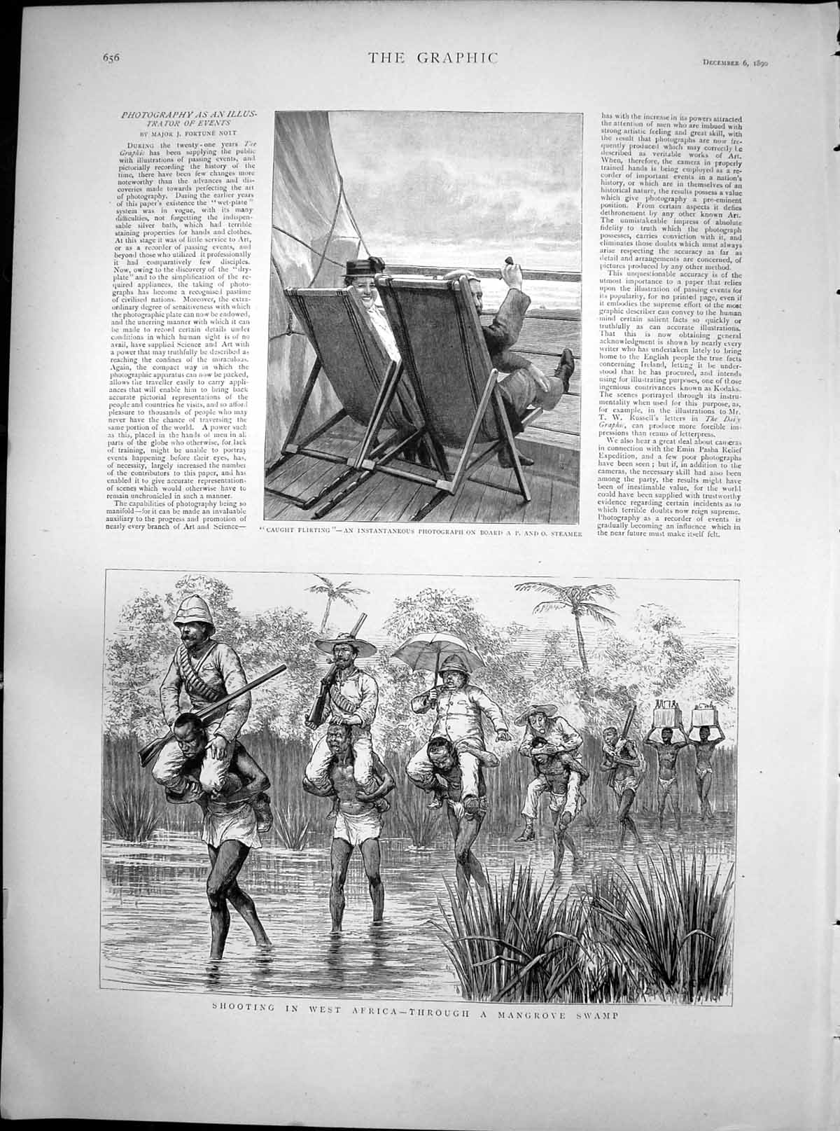 [Print Shooting West Africa Mangrove Swamp Caught Flirting 1890 217T114 Old Original]