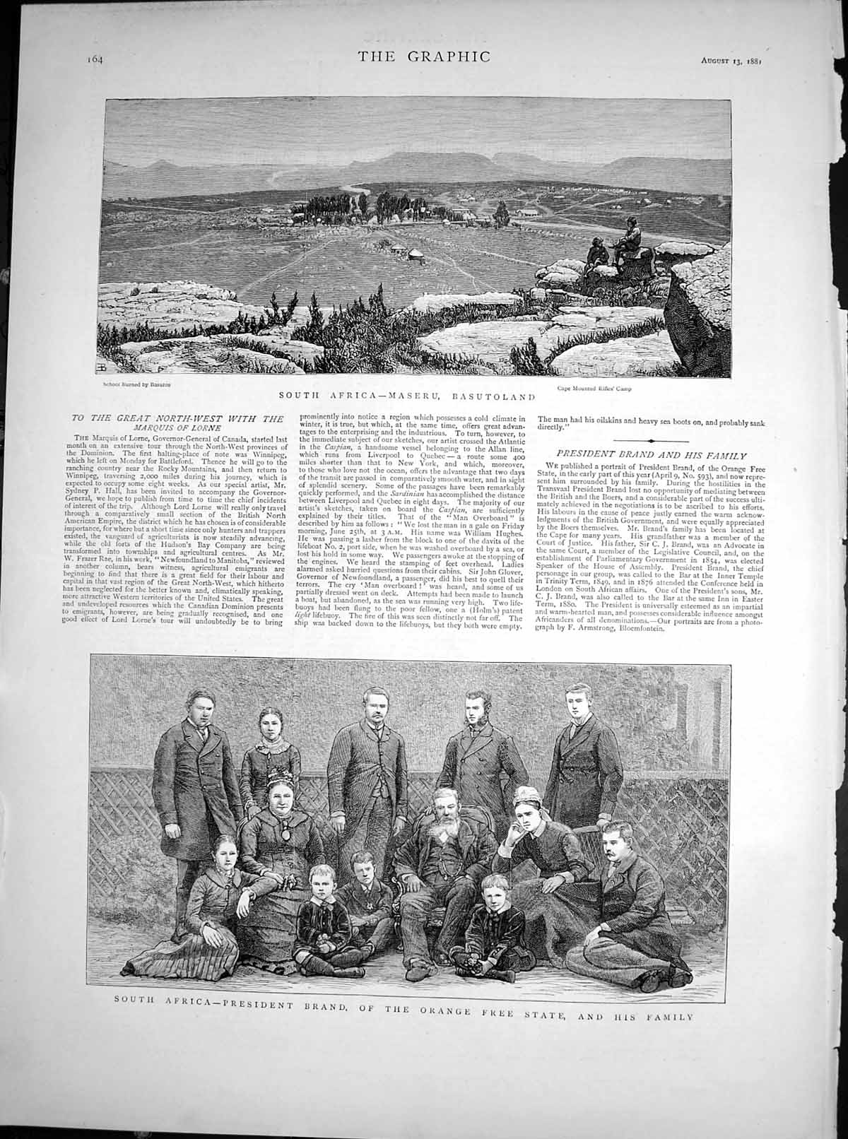 [Print South Africa Maseru Basutoland President Brand Family 1881 436T115 Old Original]